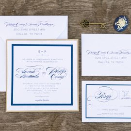White, Navy and Gold Square